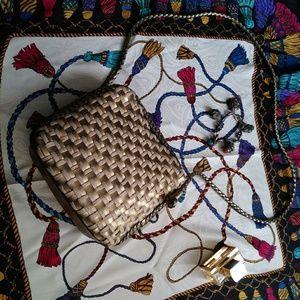 Vintage Bags - Elka Gold Crossbody Bag Woven Braided Vintage